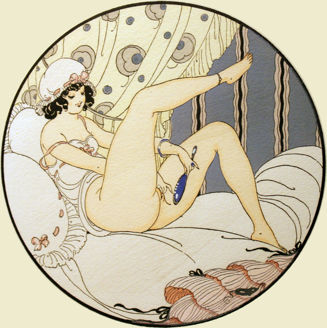 Gerda Wegener – female looking at the mirror while masturbating herself